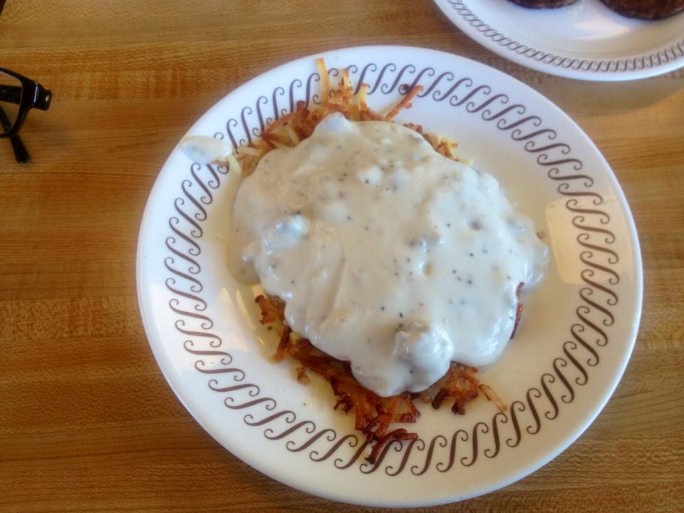 """Hash browns, smothered in country gravy.  You know you want it!"""