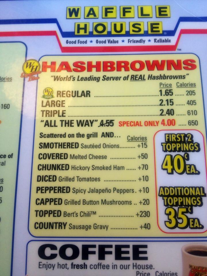 """Variety, thy name is hash browns!"""