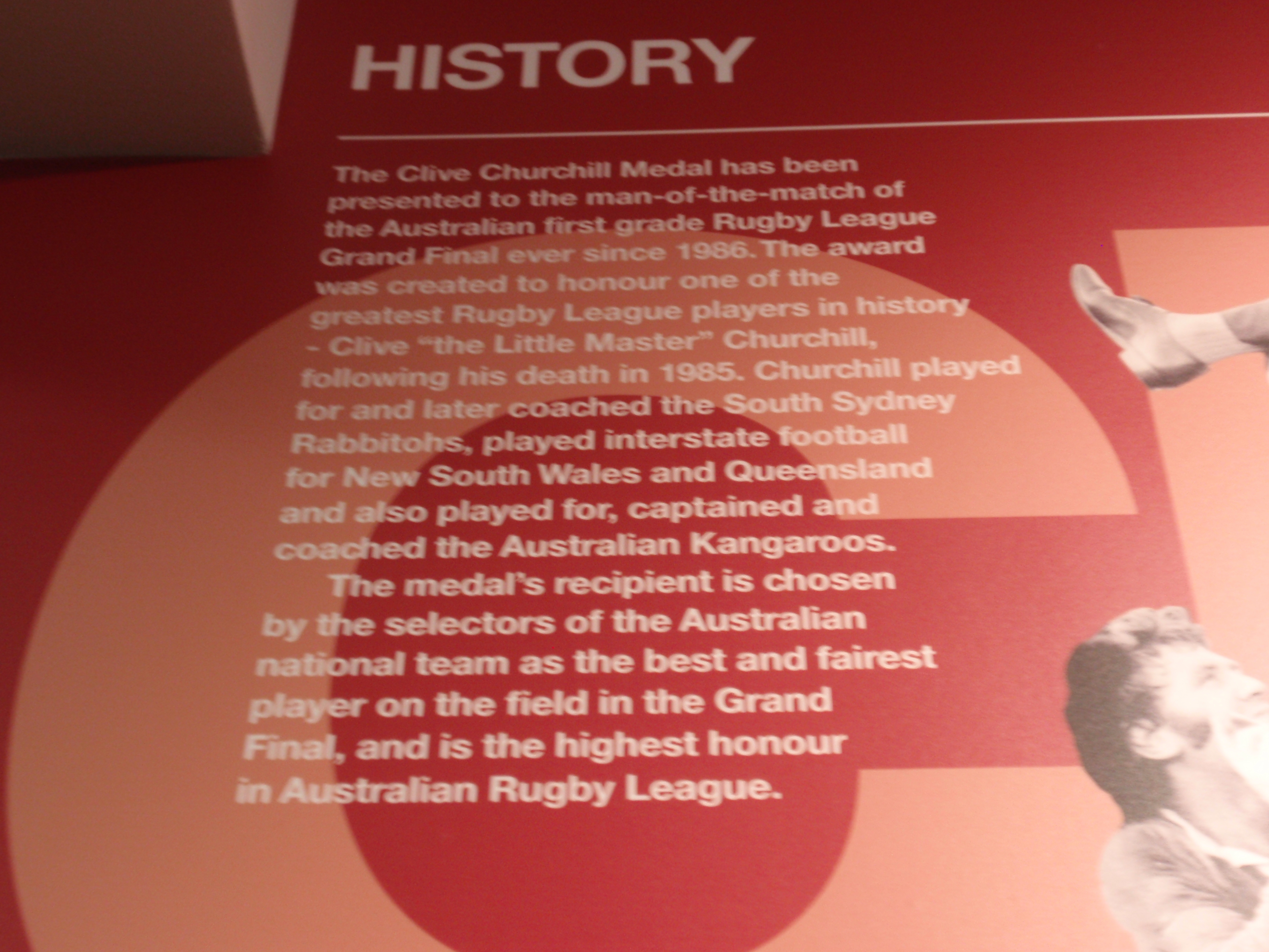 """Clive Churchill History..."""