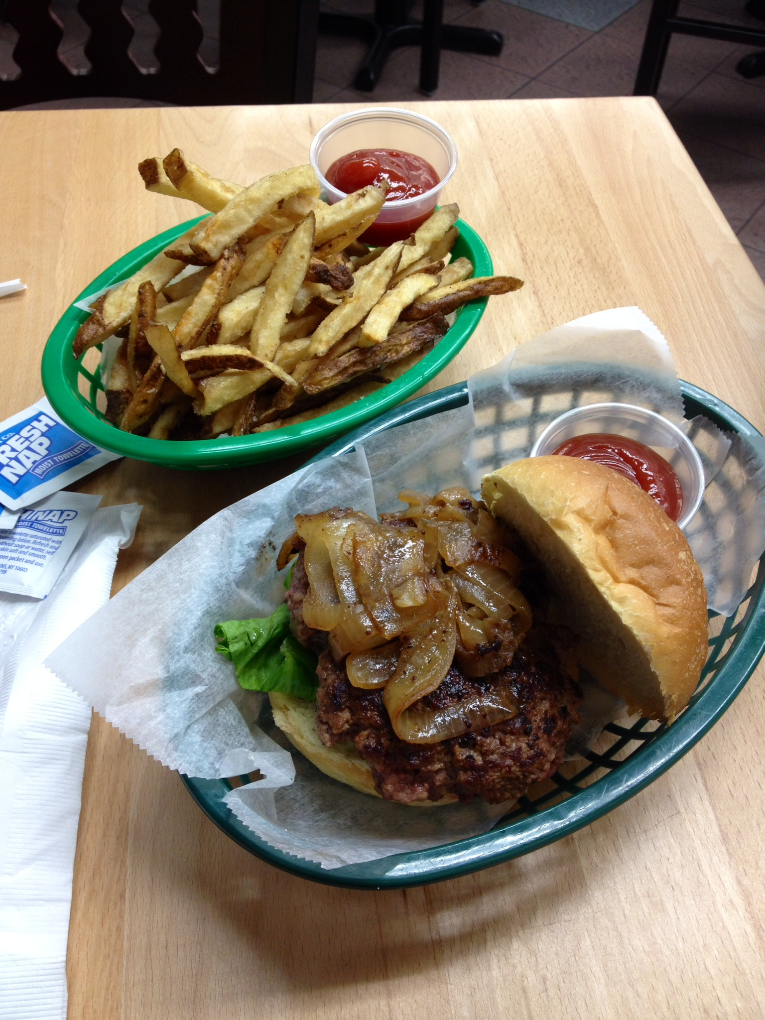 Burger and Fries, butcher shop style!