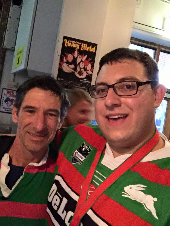 """Me with David """"Dangar"""" Reynolds.  Biggest Souths fan from the Hawkesbury"""