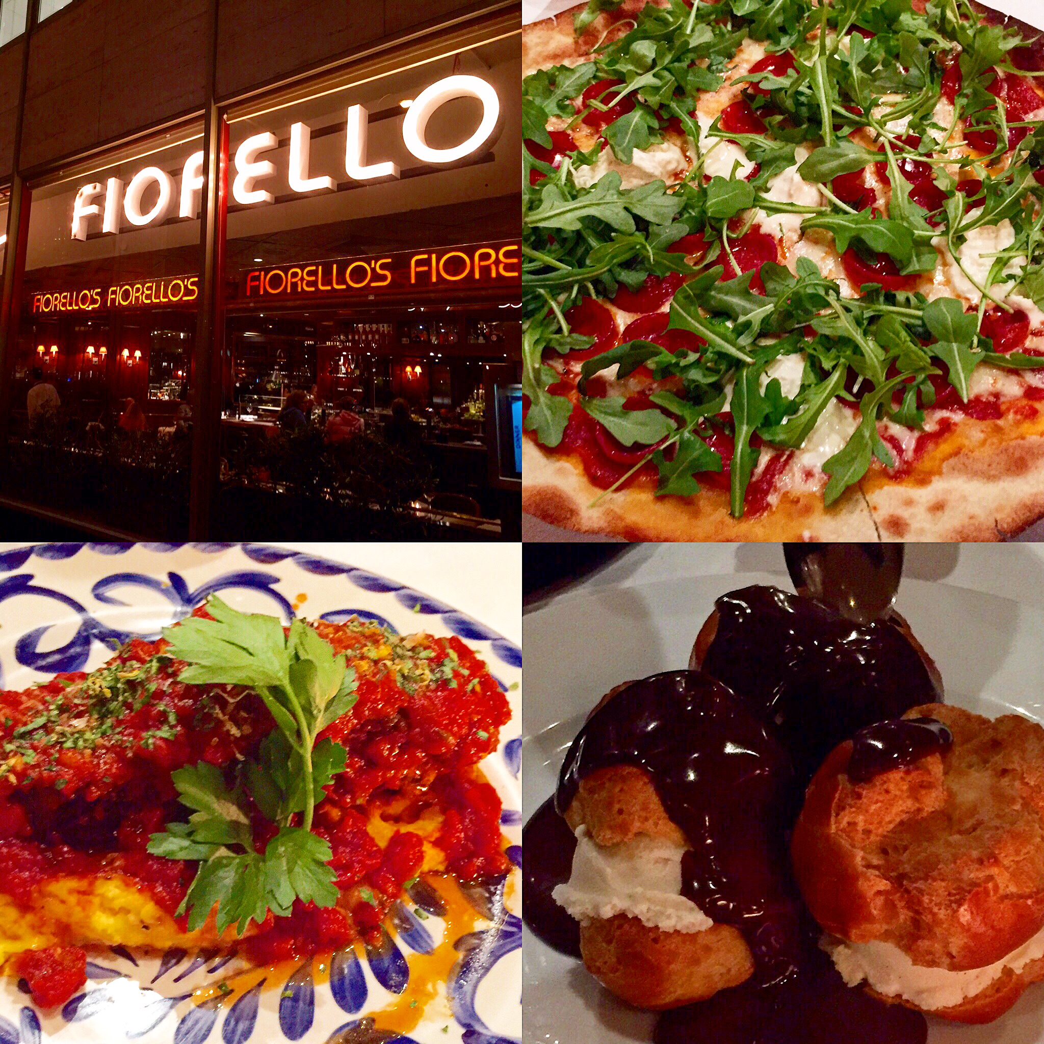 Fiorello's Cafe: In the mood for Italian?!  Front entrance, pizza, prime rib, and profiteroles.