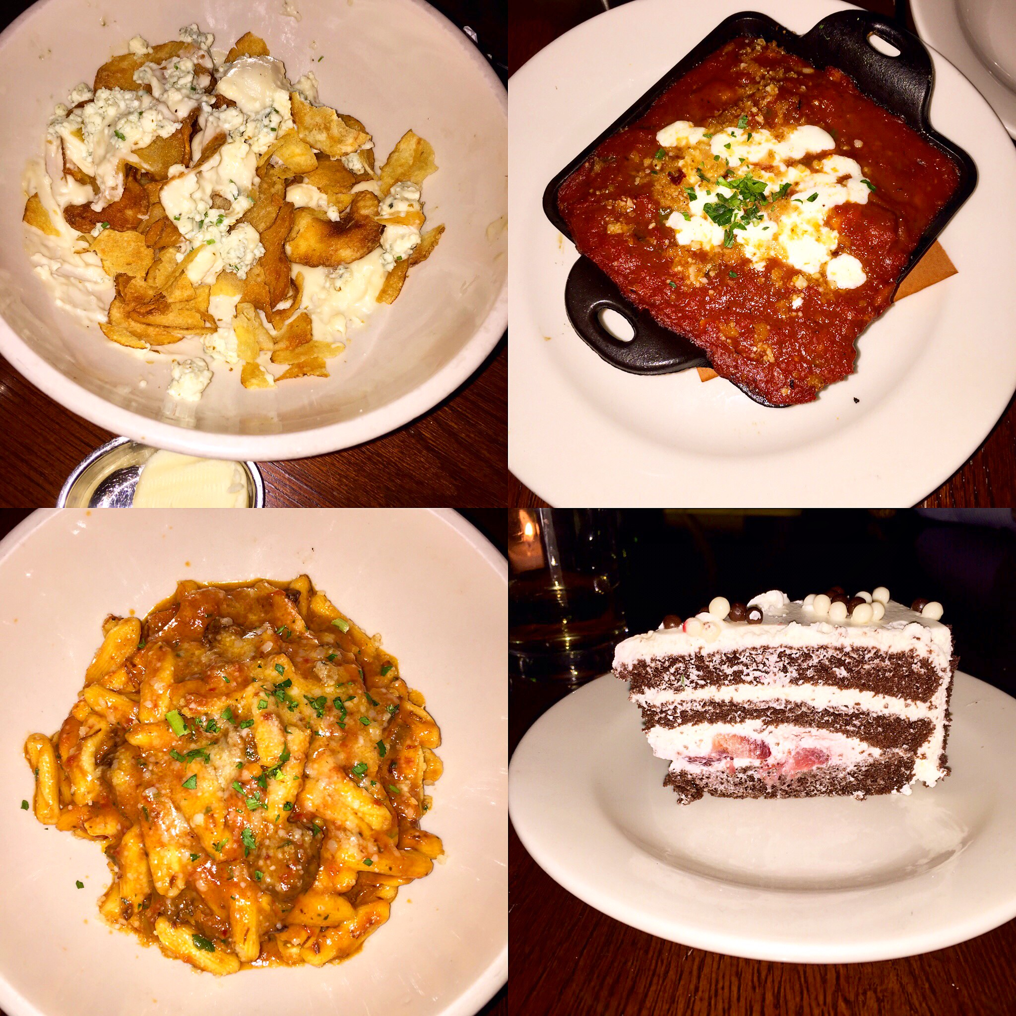 The Smith...for dinner!  Hot chips with blue cheese, meatballs, pasta bolognese, and chocolate cake.