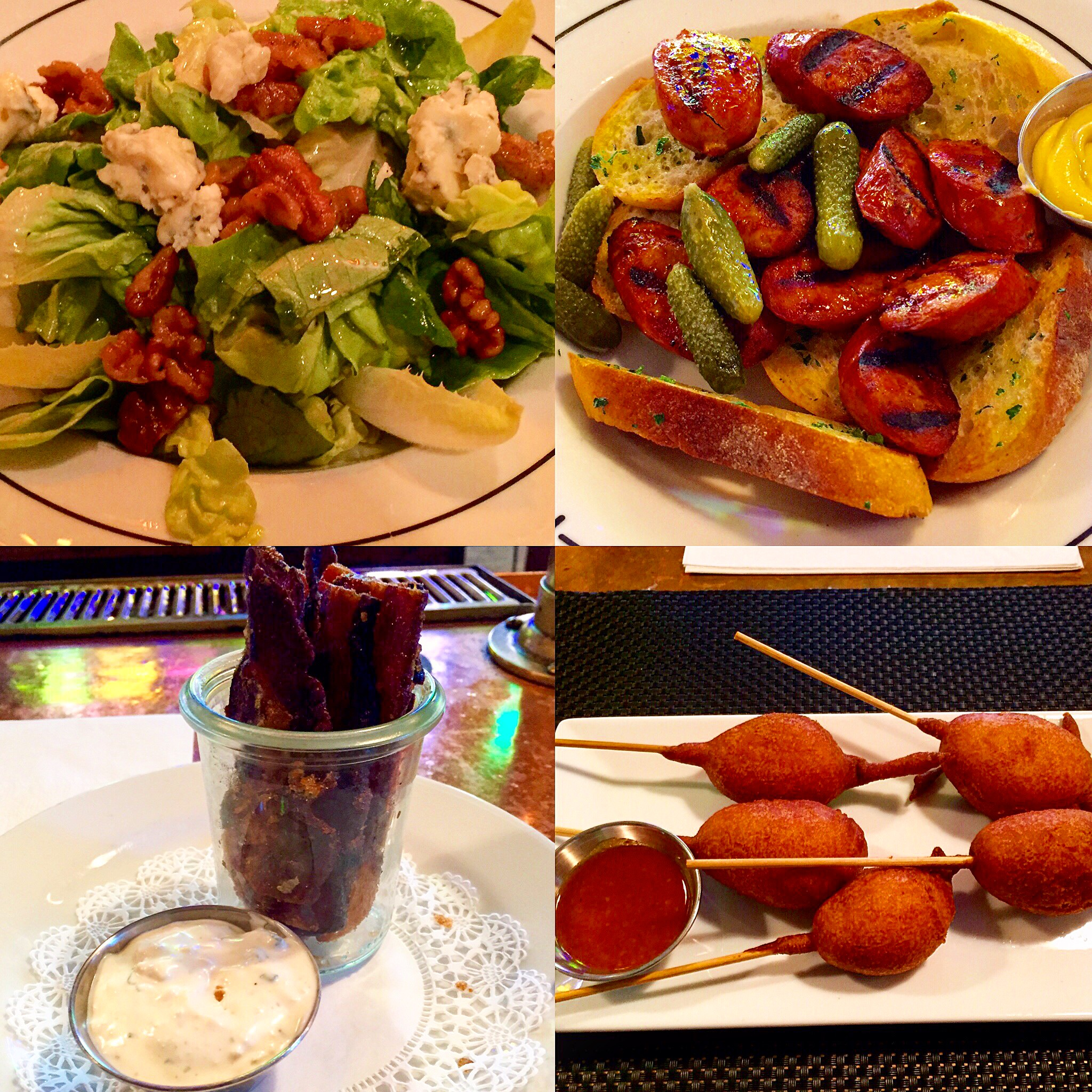 (From clockwise): Roquefort Walnut Salad, Smoked Sausage, Candied Bacon, and Corn Dogs