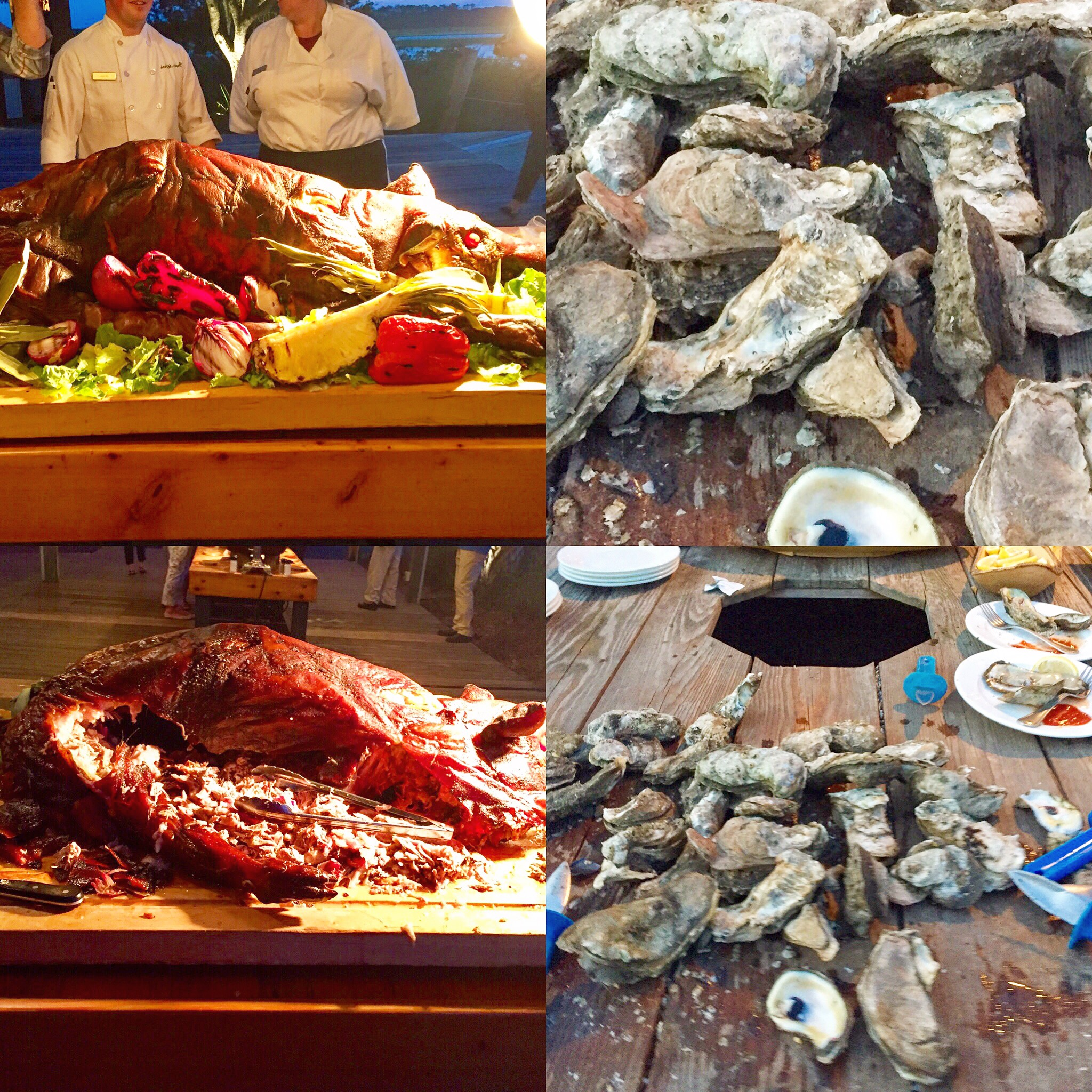 "Roasted Whole Hog and Oysters.  ""Don't hog the shellfish!"""