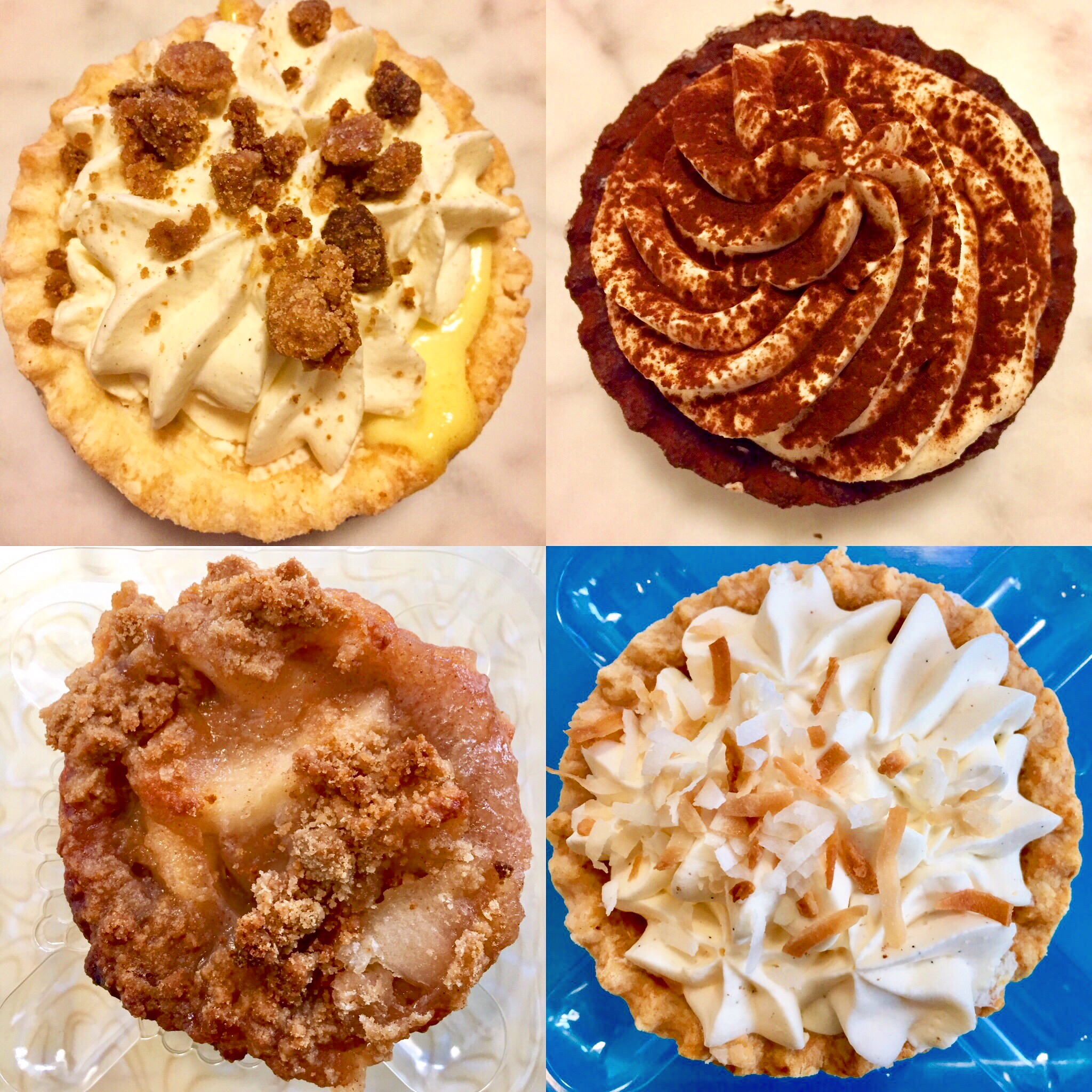 What's better than pie? Four mini pies all to yourself! Eggnog, chocolate, apple, and coconut.