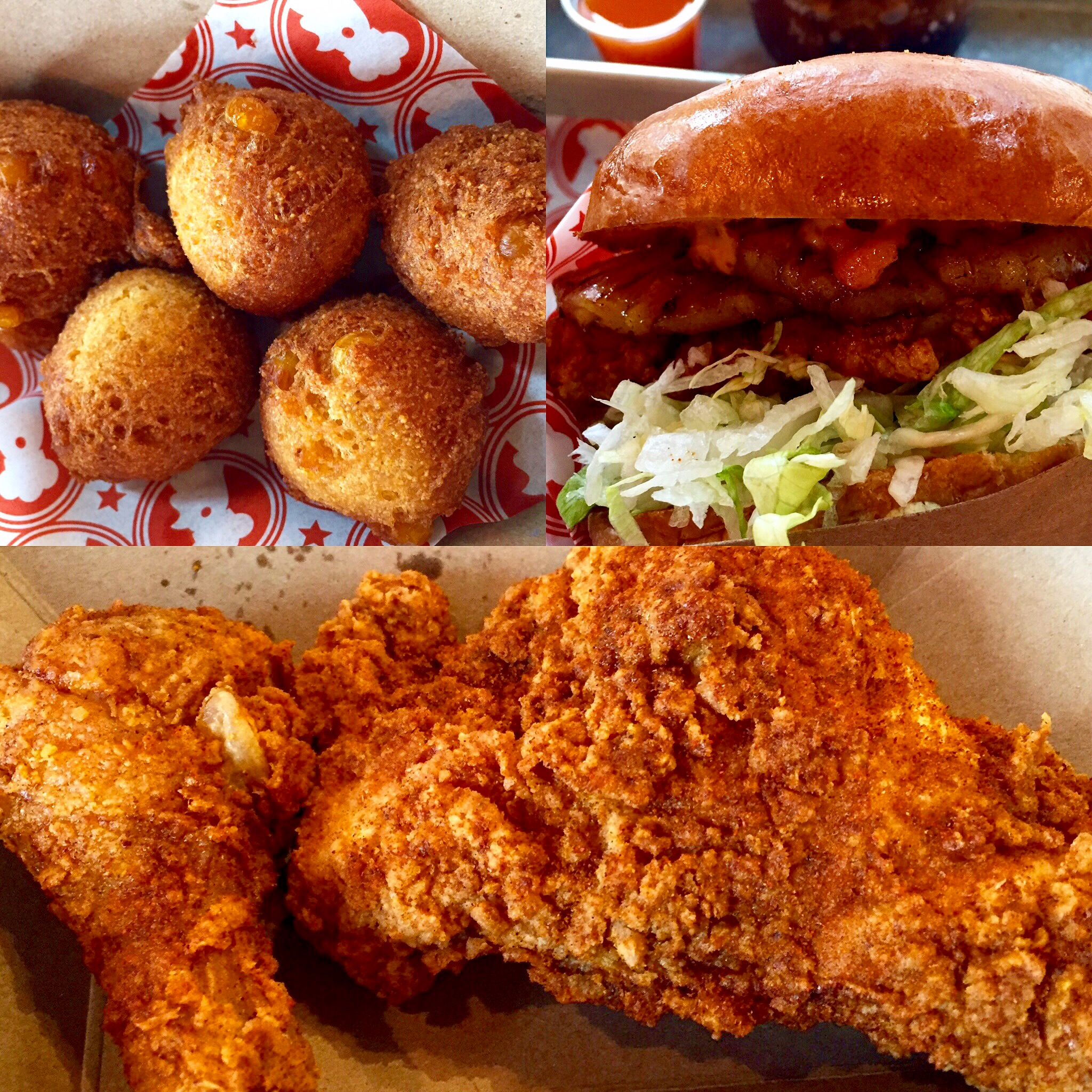 Hush puppies, chicken sandwich, breast and legs.