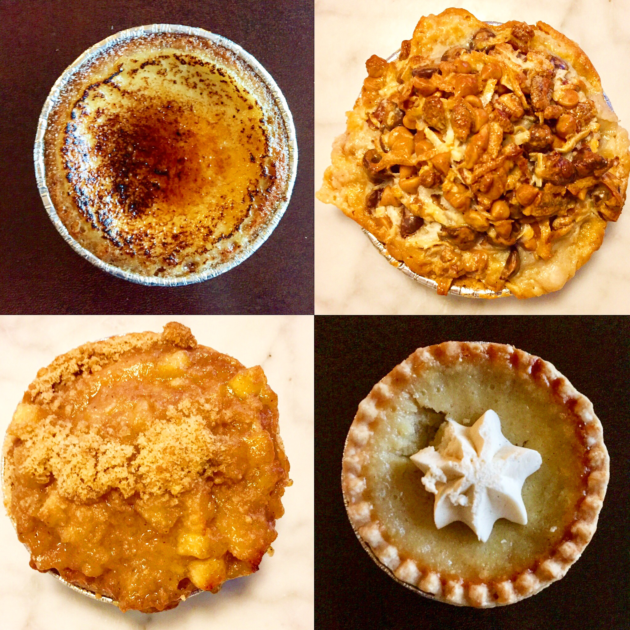 Pies, pies, and more pies!  Creme brulee, cowboy, whiskey buttermilk, and apple crumb.